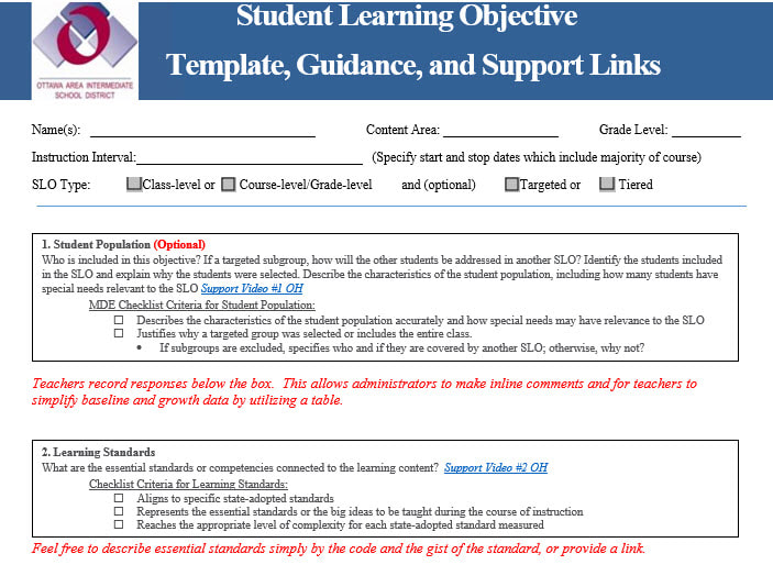 Slo writing guidance practical school improvement for Slo scoring template